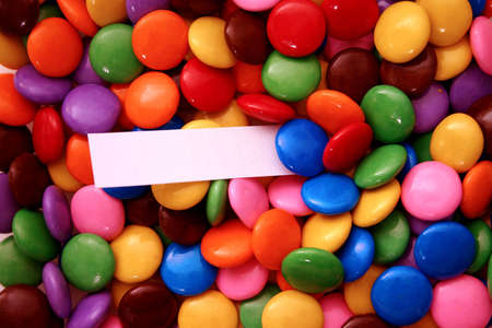sucrose:  assorted candies with a message - add your text Stock Photo