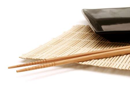 Bamboo mat, dish and chopsticks Stock Photo - 241712