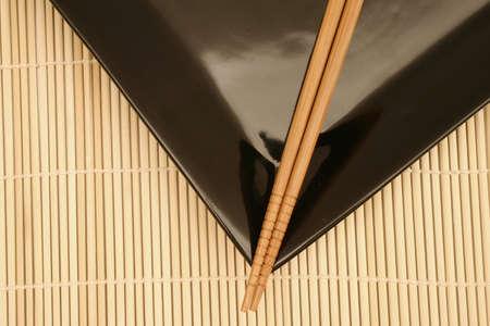 Bamboo mat, dish and chopsticks Stock Photo - 241713