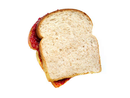 A Peanut butter and jelly sandwich. Stock Photo