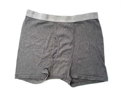 elastic garments:  A pair of plan gray boxer briefs for men.