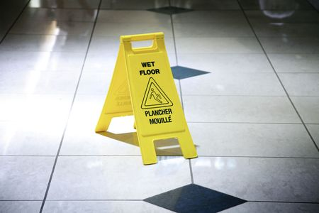 cleaned: Wet Floor Sign
