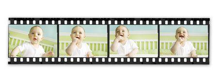 Film Strip with Baby Boy Series Stock Photo