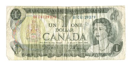 ceased: Old Withdrawn Canadian Banknote - The $1 bill ceased printing in 1989. These bills are virtually never seen in circulation today. Stock Photo