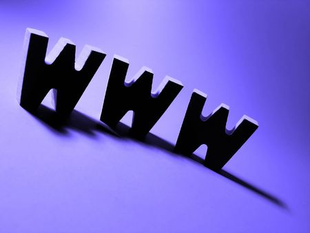 tcp: A heavily silhouetted www on a bright purple background. Stock Photo