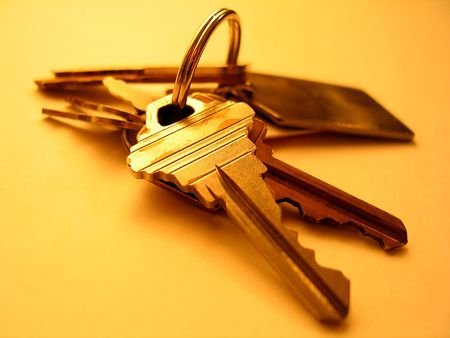 ring of keys on a yellow background photo