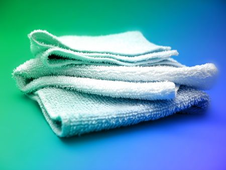 towels on blue and grean background