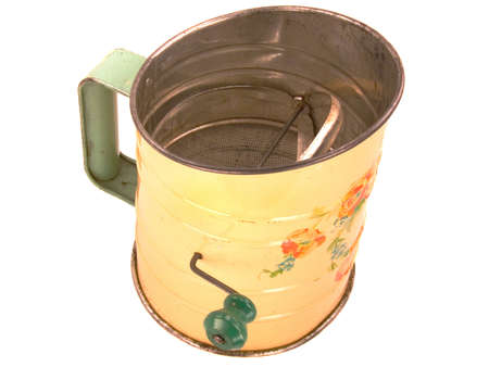 sifter: Antique tinware flour sifter