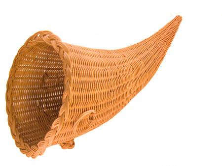 bocinas: Cesta de mimbre en forma de cuerno de la abundancia, o Cornucopia