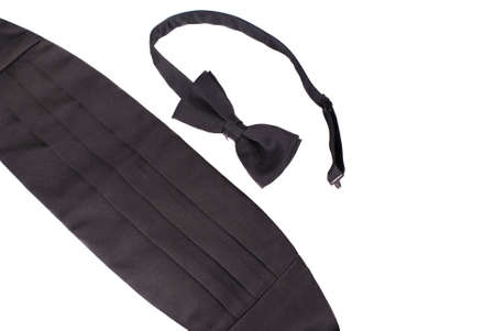 cheater: Tuxedo cheater bow tie and cummerbund, white iso. Stock Photo