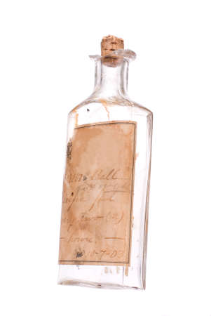 intact: 1903 medicine bottle with label still intact, white iso.