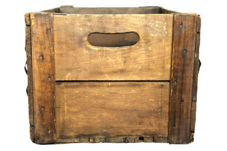 crate: End-on view of antique wooden beer case, white iso.