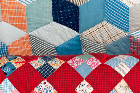 bedspread: Antique quilts, detail view.