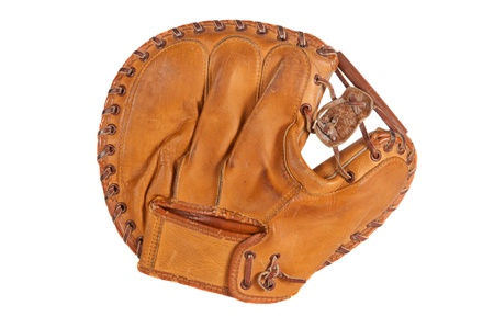 catcher's mitt: 1960s era catchers mitt. Stock Photo