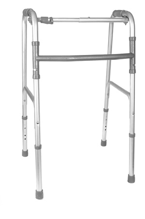 infirm: Walker to aid the infirm in walking, white isolation