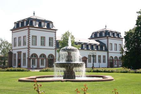 Philipsruh Palace with fountain, Germany Stock Photo