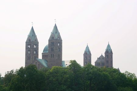 steeples: Steeples of the dome of Speyer, Germany Stock Photo