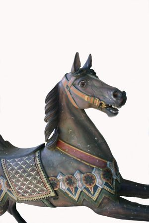 Brown carousel horse, isolated photo