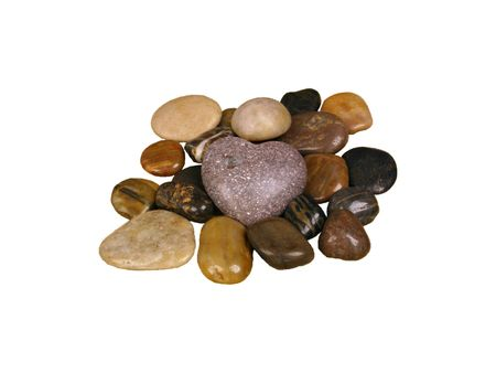 Pebbles with heart-stone, isolated   Stock Photo