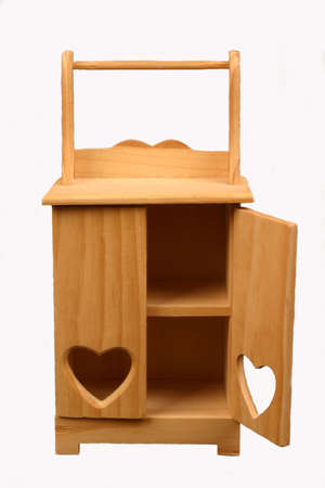 Wooden miniature cabinet, isolated Stock Photo