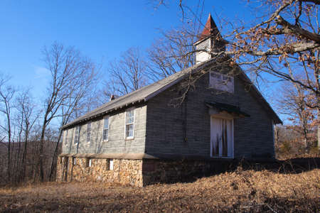 angled view: The front angled view of an old baptist church