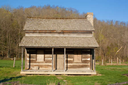 log cabin: The original house on a homestead in Reynolds County Missouri. Stock Photo