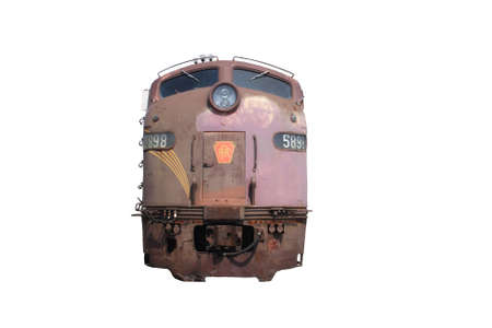front of: A front view of an engine of a train. Stock Photo