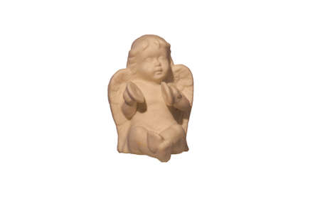cymbals: A ceramic angel holding cymbals, isolated.