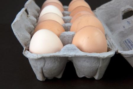 Eggs in an egg carton. photo