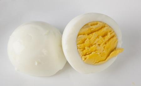 A hard boiled egg cut in half  photo