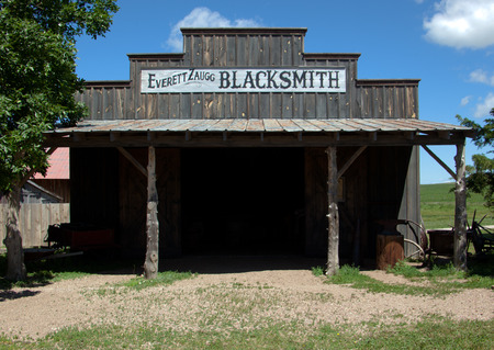 blacksmith shop: A blacksmith shop in an old west town.