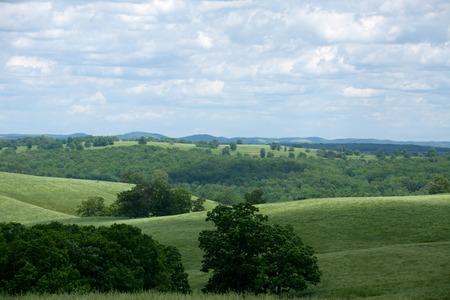 The rolling hills of the Ozarks in Missouri.