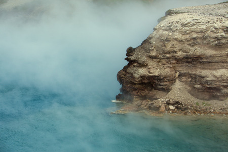 excelsior: A close up view of a rock in Excelsior Geyser Crater. Stock Photo
