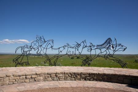 metal sculpture: Una scultura di metallo a Little Big Horn National Park.