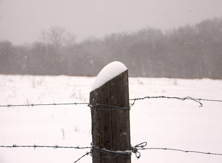 fence post: A close up of a fence post with snow. Stock Photo