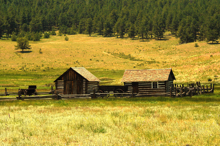 homestead: A historic homestead in Colorado United States. Stock Photo