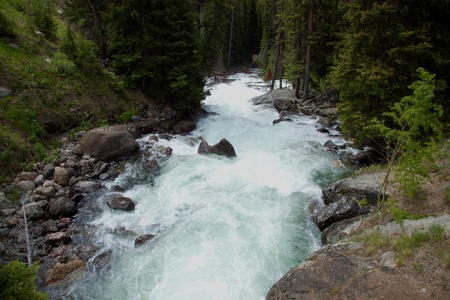 rushing water: A view of the rushing water of Clarks Fork River.