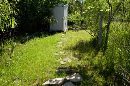 outhouse: The path to a small old outhouse.