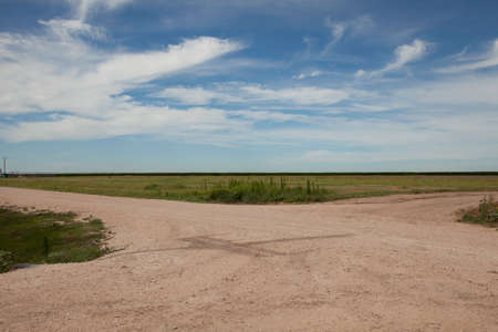 fork in the road: A fork in a dirt road in Texas.