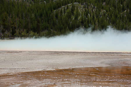 prismatic: Steam rising from the Grand Prismatic Spring.