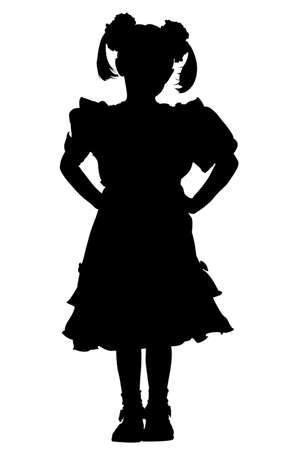 little girl silhouette over the white background