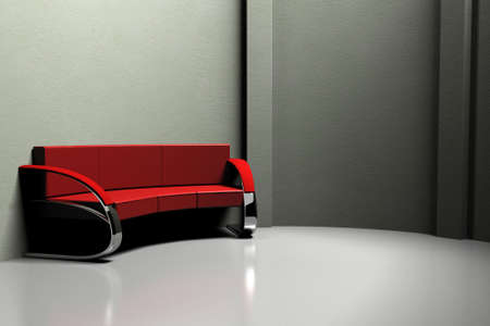 red sofa: red sofa with chrome legs in the gray room 3d