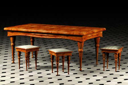 arredamento classico: Antica tavola e tre sgabelli rendering 3D