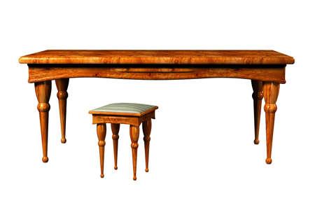 arredamento classico: Antica tavola e 3d e sgabello isolati su bianco Archivio Fotografico