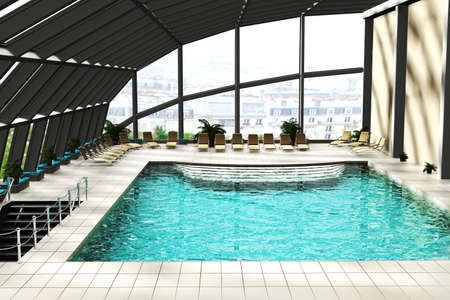 Swimming pool with glass roof 3d render photo