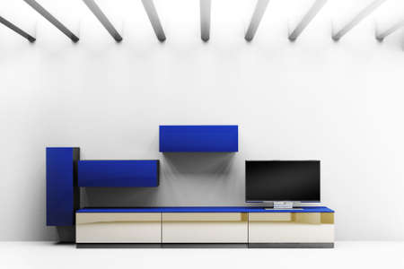 Modern interior room  with LCD TV and shelves photo