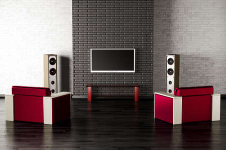 living room interior with tv, two armchairs and speakers 3d