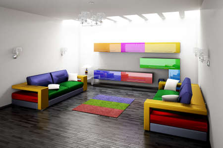 Interior of modern room 3d render photo