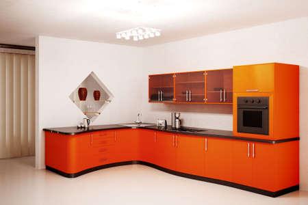 L'int�rieur de la cuisine moderne orange 3d rendre