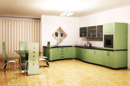 Interior of modern green kitchen 3d render photo